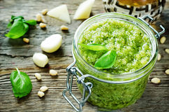 Fresh pesto sauce Stock Image