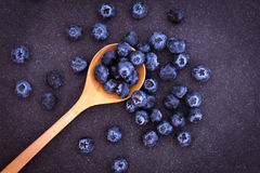 Fresh picked blueberries in wooden spoon. On black stone background Stock Photography
