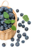Fresh picked  blueberries in a woven basket. Half of small wicker basket full of raspberries  on white background, top view Stock Image