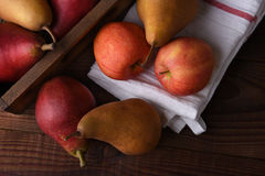 Fresh picked pears and apples Stock Image