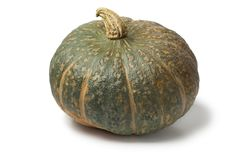 Fresh picked pumpkin Courge Delica Moretti. Fresh picked whole pumpkin Courge Delica Moretti on white background Royalty Free Stock Photo