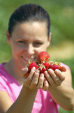 Fresh picked strawberries Stock Photo