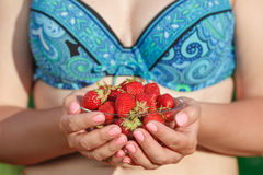Fresh picked strawberries held by woman Royalty Free Stock Images
