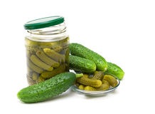 Fresh and pickled cucumbers on white background Royalty Free Stock Photo