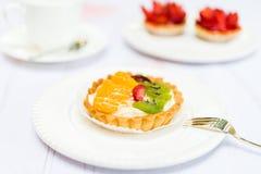 Fresh Pie Tart with Kiwi, Strawberry and Mandarine Royalty Free Stock Photo
