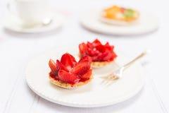 Fresh Pie Tart on White Plate Royalty Free Stock Photos