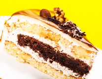 Fresh piece of cake with a chocolate layer Royalty Free Stock Photo