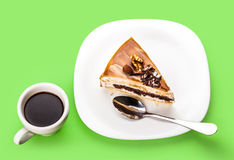 Fresh piece of cake and a cup of coffee Royalty Free Stock Photo