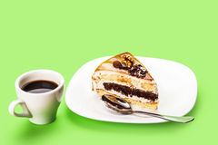 Fresh piece of cake and a cup of coffee Royalty Free Stock Photography