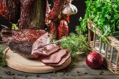 Fresh piece of ham in a homemade smokehouse Royalty Free Stock Photos