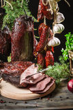Fresh piece of ham in a smokehouse Royalty Free Stock Photos