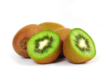 Fresh piece kiwi fruit. Isolated on white background Stock Photo