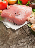 Fresh piece of meat with vegetables closeup. With copy space. Food background Royalty Free Stock Image