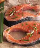 Fresh pieces of red fish.Salmon Steak Royalty Free Stock Photos