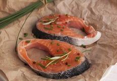 Fresh pieces of salmon.Salmon Steak Royalty Free Stock Photo
