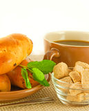 Fresh pies and cup of fragrant coffee on a white Stock Photo