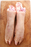 Fresh pig trotter on timber board. Two fresh pig trotter on timber board Stock Photos