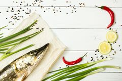 Fresh pike with spices on a white wooden table. Dietary food, river fish.  stock images