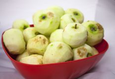 Fresh Pilled apples on the white background. With copy text space Royalty Free Stock Photos