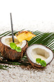 Fresh pinacolada drink served in a coconut Royalty Free Stock Photos