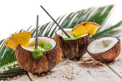 Fresh pinacolada drink served in a coconut Stock Image