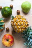 Fresh pineapple on the background. Pineapple on the background table Royalty Free Stock Image