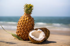 Fresh pineapple and coconut in tropical landscape Royalty Free Stock Photography