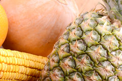 Fresh pineapple with corn and pumpkin Royalty Free Stock Photo