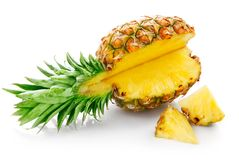Fresh pineapple with cut stock image