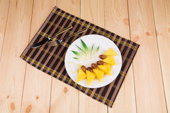 Fresh pineapple and dates Royalty Free Stock Images