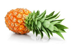 Fresh pineapple fruit with cut and green leaves stock photo