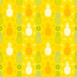 Pineapple fruits seamless summer pattern background vector forma Stock Images