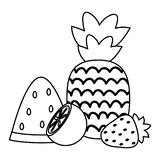 Fresh pineapple with fruits summer icons stock illustration