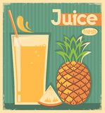 Fresh pineapple juice on old paper.Vector vintage card Royalty Free Stock Image