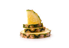 Fresh pineapple with slices isolated on white background Royalty Free Stock Photos