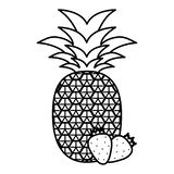 Fresh pineapple with strawberries stock illustration