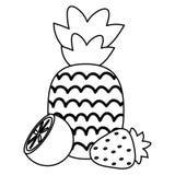 Fresh pineapple with strawberry and orange stock illustration