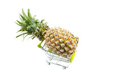 Fresh pineapple on trolley Royalty Free Stock Photos