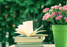 Fresh pink carnation flower with books