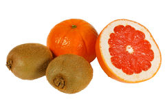 Fresh pink grapefruit, tangerine and kiwi Royalty Free Stock Photo