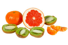 Fresh pink grapefruit, tangerine and kiwi Stock Photo