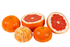Fresh pink grapefruit and tangerines Royalty Free Stock Images