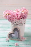 Fresh pink hyacinths flowers  in bucket and decorative heart  on. Turquoise painted wooden background. Selective focus is on heart Stock Photo
