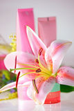 Fresh pink lily and cream. Fresh pink lily & cream. Beauty treatment royalty free stock images