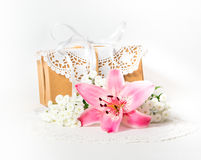 Fresh pink lily flower and gift box Royalty Free Stock Photography