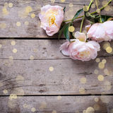 Fresh pink peonies flowers on aged wooden background. Flat lay. Stock Photo