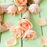 Fresh pink roses Stock Photos