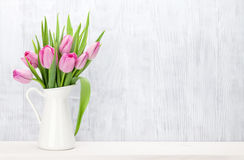Fresh pink tulip flowers bouquet Royalty Free Stock Images