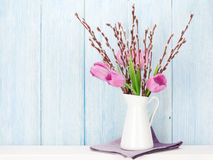 Fresh pink tulip flowers bouquet Royalty Free Stock Photo