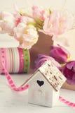 Fresh pink tulip flowers in gift kraft box Stock Images